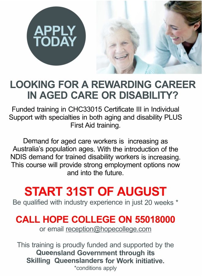 LOOKING FOR A REWARDING CAREER IN AGED CARE or DISABILITY? - vlcl com au